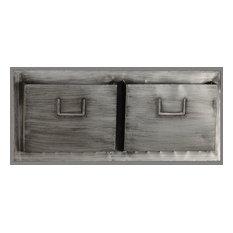 Industrial Metal Two Slot Mailbox, Horizontal
