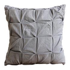 "Gray Pillow Covers 20""x20"" Cotton Throw Pillow Cover, Grey Linen Texture"