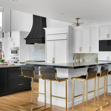 Black & White Kitchen with Accents of Gold
