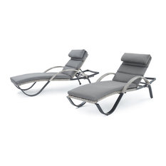 Cannes Chaise Outdoor Lounge Chairs, Set of 2 by RST Brands, Charcoal Gray