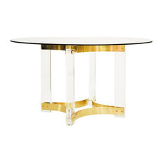 Worlds Away Hendrix Round Dining Table, Antique Brass, Base Only
