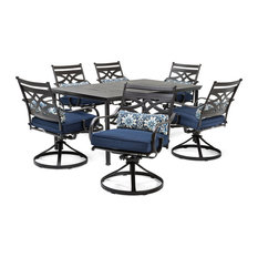 Montclair 7-Piece Dining Set With Swivel Rockers and Dining Table, Navy