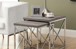 Monarch 2 Piece Nesting Table Set in Dark Taupe and Chrome
