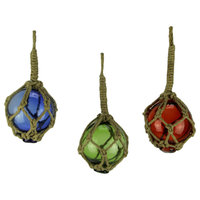 Blue Red and Green Glass Floats/Fishing Net Nautical Ornaments Set of 3