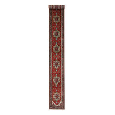 Traditional Red & Blue 3'x20' Runner Heriz Serapi Hand Knotted Wool Rug H9209