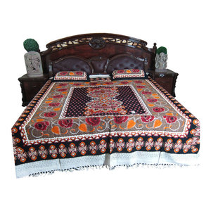 Mogul Interior - Indian Decor Bed Cover 100% Cotton Bedspread Galicha Rose Printed Coverlet - Quilts And Quilt Sets