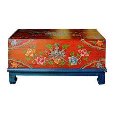 Chinese Tibetan Rectangular Shape Orange Floral Wood Container cs4994