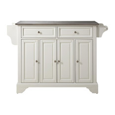 LaFayette Stainless Steel Top Kitchen Island, White Finish