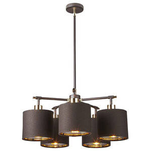 5-Light Chandelier, Brass and Brown