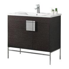 "Shawbridge 36"" Bathroom Vanity, Black, Polished Chrome Hardware"