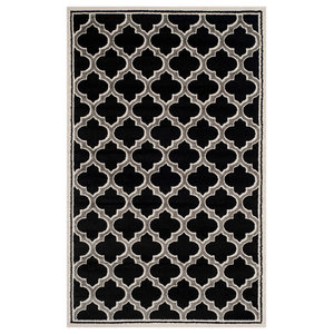La Salis Anthracite and Ivory Indoor/Outdoor Rug, 152x243 cm