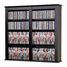 Prepac Double Floating Media Wall Storage in Black