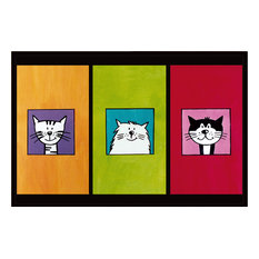Cute Cat Trio Gallery Door Mat, Small