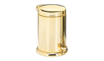 DWBA Luxury Round Step Trash Can, Brass Polished Wastebasket With Lid Cover,