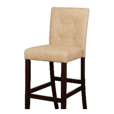 Wooden Bar Stool With Button Tufted Backrest Beige And Brown