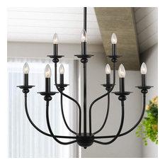 Traditional 9-Light Chandelier Lighting 2-Tier Pendant Chandelier