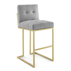Grey Fabric Bar Stool Heidi Giselle Gold Bar Stool Tufted Luxe Glam Barstool