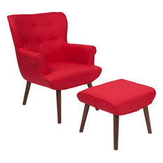 2-Piece Bayton Upholstered Wingback Chair With Ottoman Set, Red Fabric