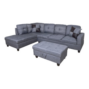 Groovy Acme Thelma Sectional Sofa With Sleeper And Ottoman Gray Andrewgaddart Wooden Chair Designs For Living Room Andrewgaddartcom