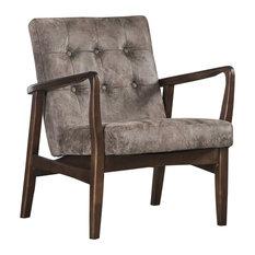 Callahan Mid Century Modern Microfiber Club Chair with Wood Frame