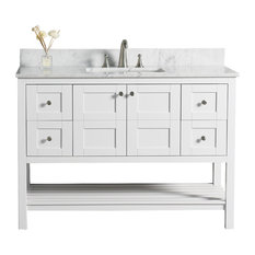 "WoodBridge 48"" Solid Wood Vanity With Carra White Marble Top"