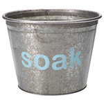 """A Southern Bucket - Soak Galvanized Storage Bucket, Medium - Organize your cleaning supplies with this cute metal bucket, featuring hand painted typography """"soak"""" in light turquoise. Each Soak galvanized bucket is 100% watertight and is a perfect home accent for modern farmhouse decor."""