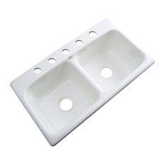 Portland 5-Hole Kitchen Sink, White