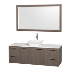 """Amare 60"""" Gray Oak Single Sink Vanity With White Man-Made Stone Top, 58"""" Mirror"""