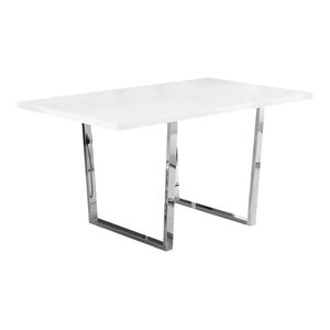 Monarch White Particle Board and Metal Dining Table