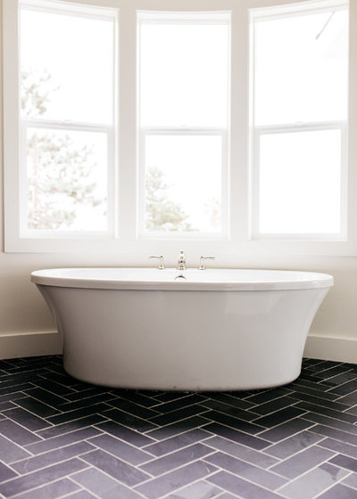 DarkFloored Bathroom Offers Ocean Views From Tub And Shower - Pacific sales bathroom faucets for bathroom decor ideas