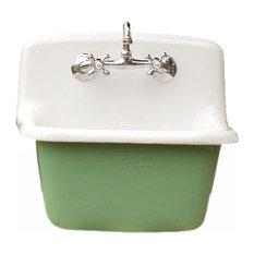 Deep Utility Sink Antique Inspired Cast Iron Porcelain Farm Sink Set, Arsenic