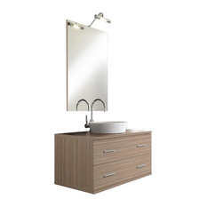 Giava 4-Piece Wall-Mounted Bathroom Vanity Unit, Light Oak, 90 cm