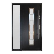 Ville Doors Modern Entry Door With Sidelite Gray Finish Left Hand Inswing