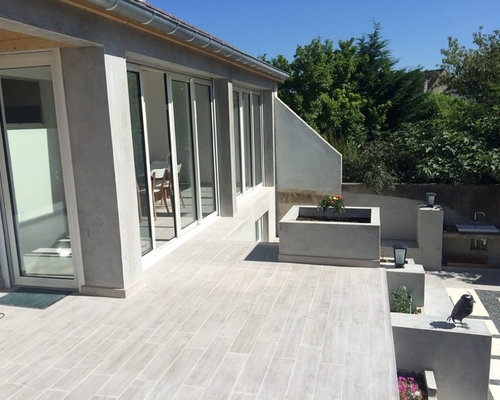 Extension via v randa et am nagement terrasse jardin dossier en cours for Amenagement terasse