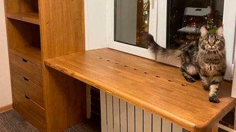Подоконник-столешница + шкаф из лиственницы
