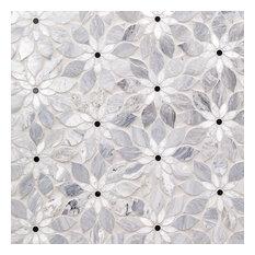 Wildflower Blue Note Marble Tile, Gray/White/Black