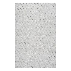 Handmade Modern Cowhide Trellis Leather/Viscose Area Rug, Gray, 9'x12'