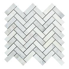 Oriental White Marble Herringbone Mosaic, 1 X 3 Honed