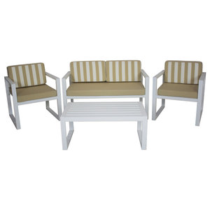 Outdoor 4-Piece Munich Furniture Set With 2-Seater Sofa, White