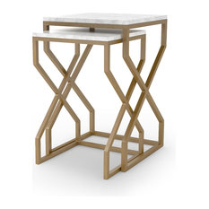 21-inch Alessandra Nesting Tables Matte Brass Side Table Iron Marble White Artisan