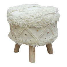 GDF Studio Mosiac Handcrafted Boho Fabric Stool with Metal Accents