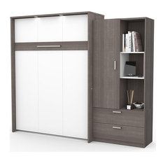 Bestar Cielo Queen Storage Wall Bed in Bark Gray and White
