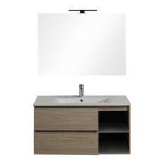Berlin Drawer and Compartment Bathroom Vanity Unit, Walnut, 90 cm