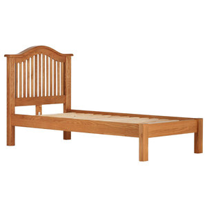 Traditional Oak Curved Open End Bed, Single