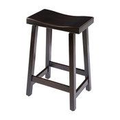 "Urban Rustic Saddle Bar Stool, Maple Wood , Onyx Stain, Bar Height, 30"""
