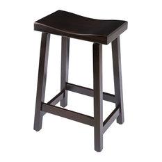Urban Rustic Saddle Bar Stool Maple Wood  Onyx Stain Bar Height 30-inch