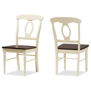 French Country Cottage Dining Chairs, Buttermilk/Cherry Brown, Set of 2
