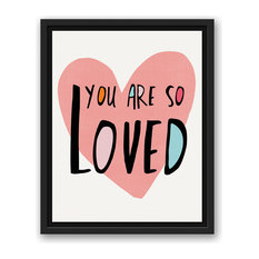 You Are So Loved Pink Heart 11x14 Black Floating Framed Canvas