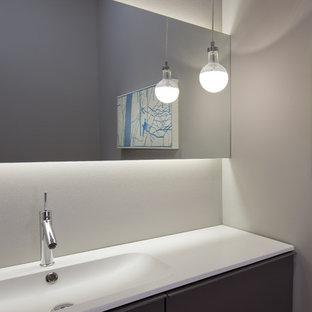 Small minimalist home design photo in Chicago