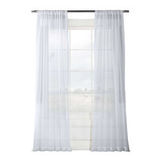 """Solid White Voile Poly Curtains, Set of 2, 50""""x96"""""""